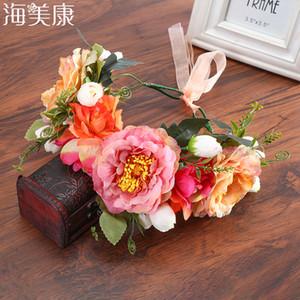 Haimeikang Rose Peony Flower Crown Girl Bridal Floral Headband Wreath Wedding HairBands Hair Accessories Women Bridesmaid Diadem Q1202