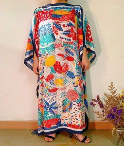 Этническая одежда 2021 летний отпуск печать цветочный пляж длинное платье женщин свободный шелк кафтан макси африканские платья для женщин1