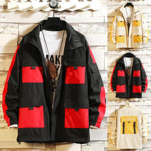 Men's Autumn Winter Color Collision Patchwork Hoodie Multi-Pockets Outwear Coatstranger Things Hoodies Tactical