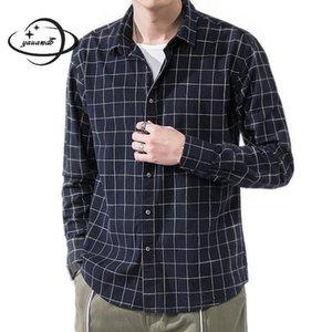 Mens Camisas Primavera Outono Macho Roupa de Manga Longa Stitch Aberto Collar Colar Manta Solta Pura Algodão Casual Roupas H60