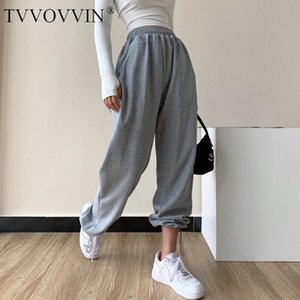 TVVOVVIN American Style Drawstring Leg Knitted Sports Pants High Waist Loose Casual All-match Straight Trousers 6R21