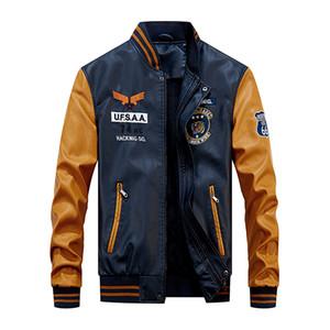 Baseball Jacket Men Bomber Biker Pu Coat Faux Pilot Jackets Varsity Fleece College Top Leather Slim Fit Motorcycle Outwear Coats