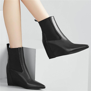 Women Cow Leather Wedges Ankle Boots Pointed Toe High Heel Pumps Shoes Winter Platform Oxfords Shoes Lady Wedding Party