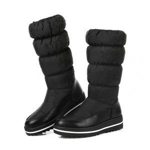Tuinanle Winter Snow Women Warm Lollush Mid-becerro zapatos de bota impermeable botas de plataforma de la plataforma de funda de manga elástica roja 35-44 201203