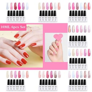 Elite99 6Pcs Gel Polish Set Cherry Pink Series Gel Nail Polish Soak Off Nail Varnish Primer For Manicure Kit Enamel Lacquer
