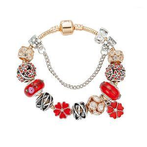 سحر أساور viovia الذهب سلسلة البرسيم للنساء كريستال ديي الأحمر الخرز أساور pulsera الأزياء والمجوهرات B161301