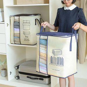 Non-woven Portable Clothes Storage Bag Organizer Folding Closet Organizer For Pillow Quilt Blanket Bedding 45*51*29cm