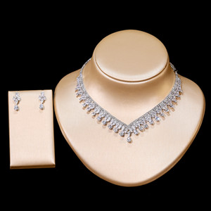 New Luxury Zircon Necklace and Earrings 2 Piece Set Female Engagement Jewelry Set Bridal Jewelry Wedding Accessories