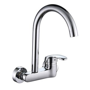 SHAI Wall Mounted Kitchen Faucet Hot & Cold Water Mixer 360 Degree Rotation Brass Basin Faucets Ceramic Plate Spool Water Tap T200424