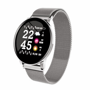 Neue Smart Uhren Männer Frauen Blutrückgang Clockround Edelstahlband IP67 Sport Smartwatch Frauen Gesundheit Smart Armband für Android ios