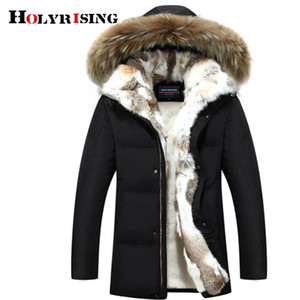 Holyrising Men and Women Thick Down Jacket Winter Warm Waterproof Big Raccoon Fur Collar Fit -30 degrees S-5XL size 18640-5 201214