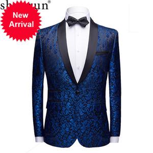 Men Fashion Slim Fit Suit Jacket Skinny Tuxedo Casual Blazer Floral Jacquard Shawl Lapel Costume Wedding Party Prom mens blazers