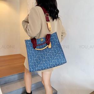Internet Celebrity Same Canvas Large Capacity Shoulder Bags Women 2020 New Fashion Crossbody Toiletry Pouch Handbag Simple Purses Tote Bag