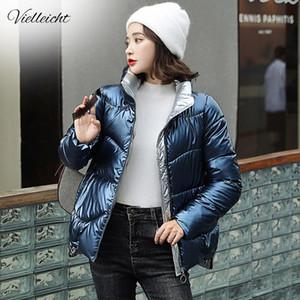 Vielleicht New Women Short Coat Parkas Female Glossy Winter Jacket Women Warm Thick Shinny Coats Plus Size 3XL Down Jacket Parka 201125