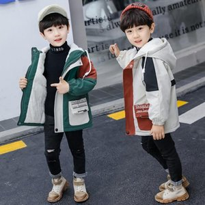 Children plus Velvet Jacket 2020 New Style BOY'S Winter Cotton-padded Clothes GIRL'S Western Style Thick Trench Coat Korean-styl