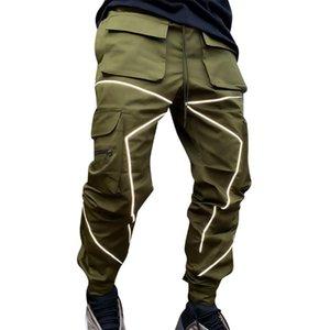 Adisputent Men Hip-hop Jogging Cargo Pants Fashion Jogger Reflective Shiny Casual Overall Man Sportswear Luminous Pencil Pants