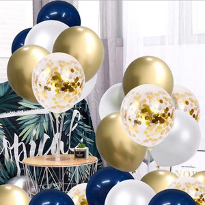 12 inch dark blue balloon navy blue balloon garland set birthday party scene decoration gold and silver sequined balloon wedding decoration