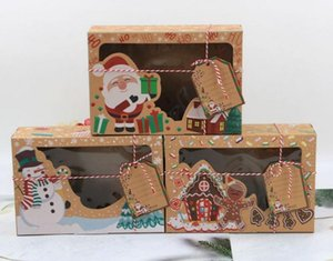 24 pcs New Kraft Paper Box Kraft Paper Large Christmas Candy Box PVC Window Biscuit Gingerbread Christmas Decorations