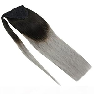 Grey Pony tail Huamn Hair Extensions 16 inch Natural Black to Blue Grey Ponytail Hair Ponytail Wrap Around Human Hair Ponytail ombre