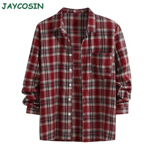 JAYCOSIN Men Clothes 2020 Winter Warm Plaid Print Shirt Men Fashion Retro Long Sleeve Lapel Blouse Shirt Streetwear 1126