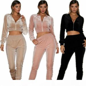 Fashion Women Long Sleeve Zipper Solid Velvet Bodycon Jumpsuit Tracksuit Casual Two Piece Tracksuit Streetwear 2 Piece Outfits Sweatsuit