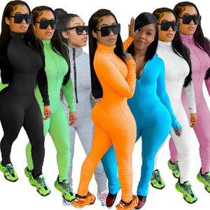 Designer Designer Designer Sexy Slim Bodysuit Nuovo Nightclub Fashion Manica Lunga Zippers Femminile Pantaloni Yoga Pantaloni da donna Pagliaccetto