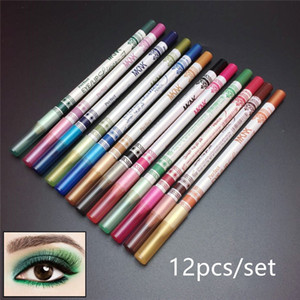 12 Pcs Set Eyes Makeup Eyeliner Eye Pencil Waterproof Beauty Eyes Liner Lip Sticks Eyeliner Adhesive Pen Cosmetics