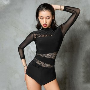 Sexy Lace Dance Tops Women Long Sleeve Black Bodysuit Ballet Dance Leotards Adult Latin Practice Wear Performance Tops BL5102