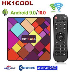 HK1 بارد الروبوت 9.0 TV Box Rockchip RK3318 رباعية النواة 4GB 128GB 2.4G / 5G المزدوج WIFI Media Player USB3.0 Android 10.0 Set Box Smart TVBox