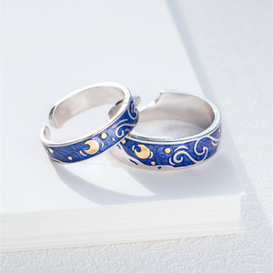 Fashion Van Gogh Enamel Women Starry Sky Adjustable Open Female Male Personality Epoxy Couple Ring Men Silver Jewelry