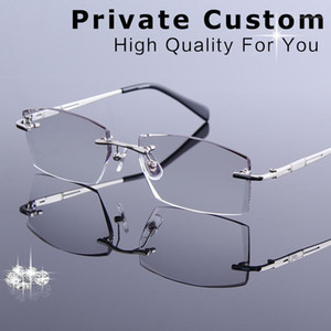 New Tinted Lenses Myopia and Reading Glasses Diamond Cutting Rimless Prescription Glasses for Man Anti-fatigue Spectacles1