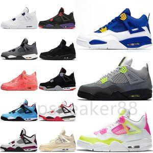 Buena calidad Jumpman 4 4S Green Grey Men's y zapatos de baloncesto de las mujeres Money Puro Ejército Azul Nuevo Vintage Neon Black Cat Raptor Sneaker
