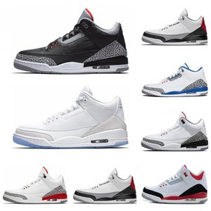 2019 New arrive 3 3s basketball shoes International Flight Black Cement Fire Red Free Throw Line Grateful sports sneaker size 7-13