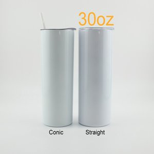 30oz Sublimation Straight Conic Skinny Tumbler Stainless Steel Sumbler Double Walled Vacuum Insulated With Sealed Lid And Plastic Straw