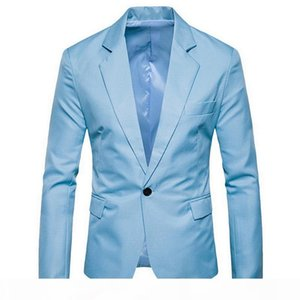 Puimentiua Men's Solid Color Blazers Casual Suit Male Slim Wedding Business Small Suit Single Button Jacket Overcoats