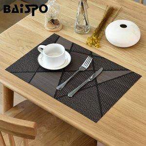 Baispo PVC 4 pezzi / set tappetino resistente al calore Placemat Placemat Stuoie di asciugatura per piatti Tappeto per montagne russe per tappeto per ciotole per la tavola della cucina 201203