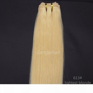 "Brazilian Hair Weft products Grade 7A Brazilian Indian Peruvian human hair extensions weave 100g 1pcs 24"" 613# Lightest Blonde"