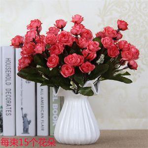15 Heads   Bouquet Rose Decor Artificial Flower Home Decor Imitation Fake Flower for Garden Plant Desk Hand-Holding