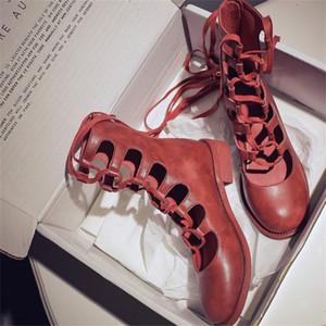 Vangull Women Boots 2019 Zapatos de moda Mujer de cuero genuino Cuero de la vaca de cuero Mid-becerro Botas Hollow Roman Sandalias One Tamaño S Pequeño Y200723