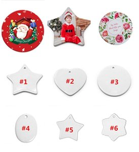 US STOCK, 2020 Christmas Ornament Handmade Ceramic sublimation Ornament blank Christmas Tree Decoration can custom DIY fast ship fy4353