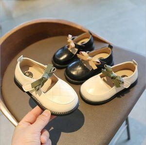 Детская кожаная обувь против скольжения сплошной цвет дыхание детей дети девочек мальчики мягкие британские вечеринки студент резиновые детские ботинки бантик