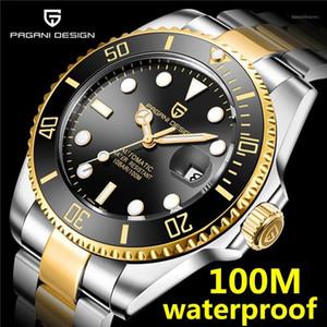 Наручные часы Pagani Дизайн 2021 Черные автоматические Часы Мужчины Мужчины Из Нержавеющей Стали Водонепроницаемый Деловой Спортивный Механические Часы 20211