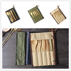 Cubiertos portátiles con bolso Viaje al aire libre Bambú Flatware Set Cuchillo Palillos Tenedor Spoon Takeware Sets Cocina Vajilla GWD3465