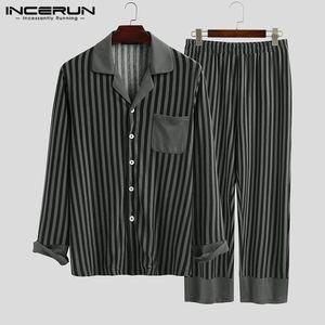 Moda uomo Pigiama a strisce Set Set di risvolto a maniche lunghe Homewear Sleepwear Pantaloni accoglienti 2020 Autunno Men Nightwear Set Incerun S-5XL