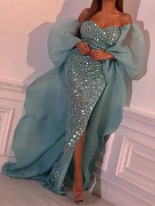 One shoulder Evening Sequins Dress Sleeveless Elegant Floor length Mermaid Party Long Dresses Floor Length Side Split Dress