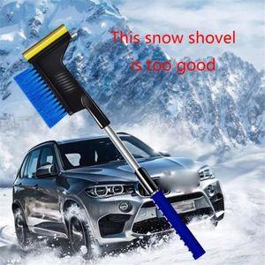 3-in-1 متعددة الوظائف مقبض طويل سيارة الجليد مكشطة الثلج مجرفة فرشاة الشتاء نافذة السيارة الزجاجية إزالة الثلوج الرعاية سيارة DHD3481