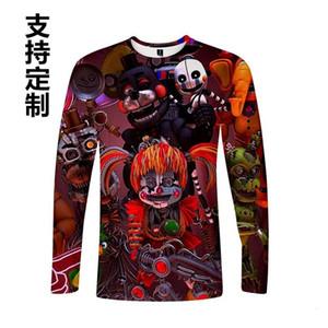 Novas cinco noites no T-shirt longo de manga longa casual de Freddy