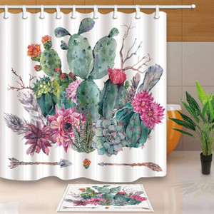 Tropical Cactus Shower Curtains for Bathroom High Quality Polyester Fabric Waterproof Mildewproof Bath Shower Curtain with Hooks