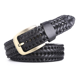 Men Women Jeans Belt Soft Hand Knitted Durable Woven Buckle Classic Casual Handmade Retro Leather Belt