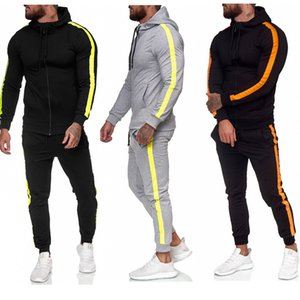 2020 Fashion Autumn Men's Tracksuits Zipper Shirt Hooded Stitching Sweater Running Fitness Tracksuits 5 Colors Size M-3XL